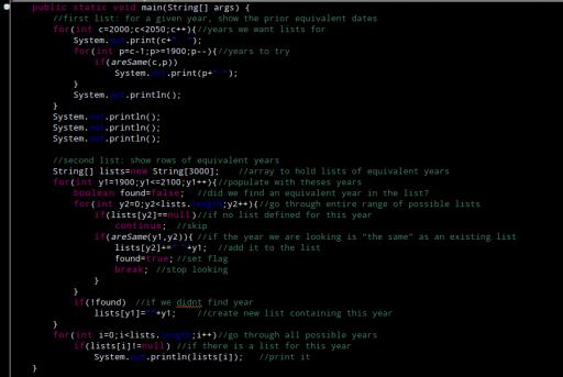 Die beiden Kalenderlisten im Java-Quellcode