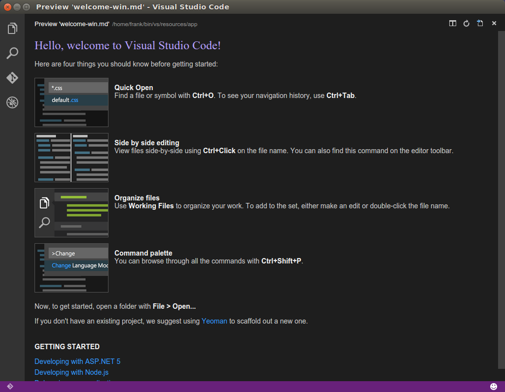 VS Code Begrüßungsscreen