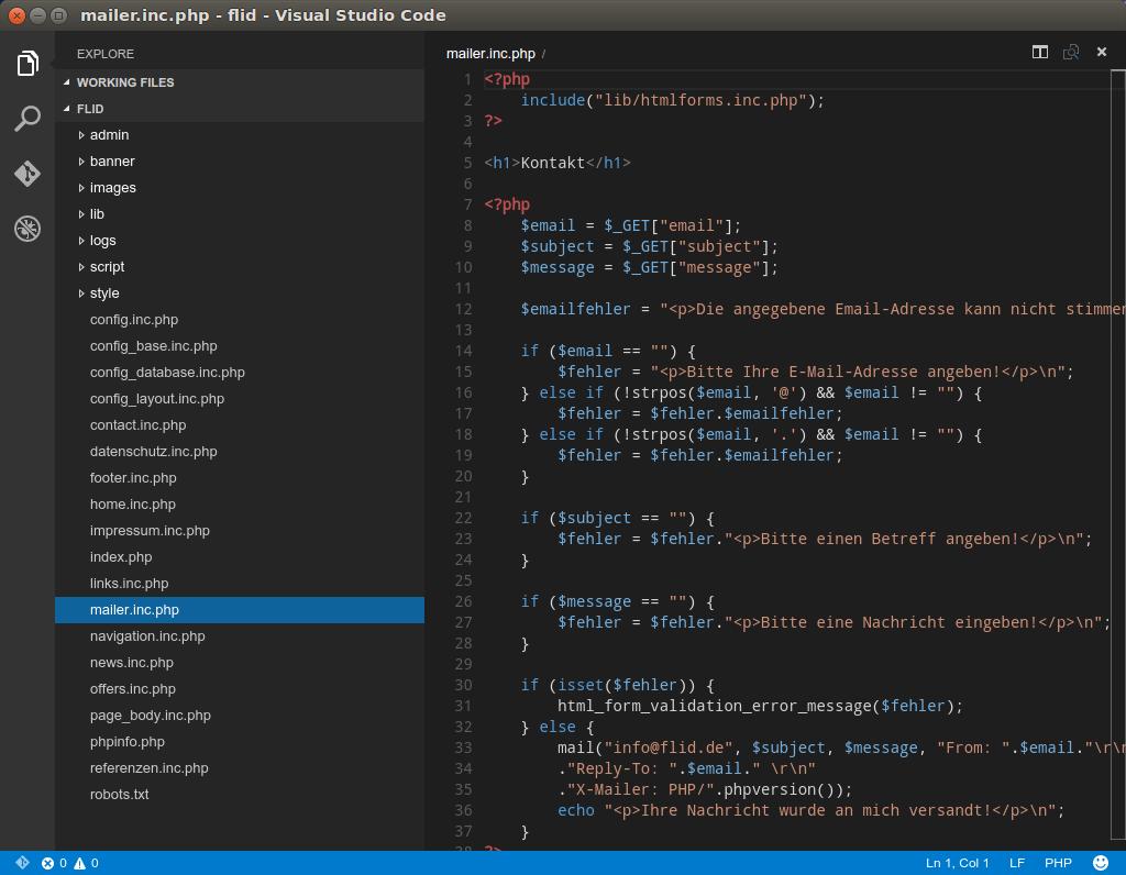 VS Code PHP