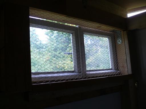 Fenster mit Hühnerdraht